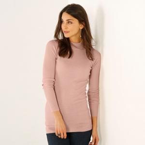 Blancheporte Žebrovaný pulovr se stojáčkem, délka cca 72 cm růžová pudrová 50